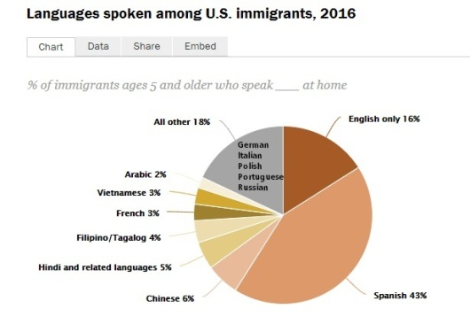 language of immigrants to us